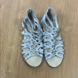 BCBGeneration Light Gray and Silver Flat Sandals
